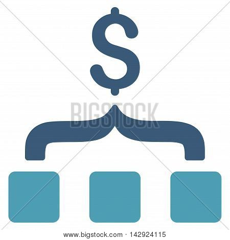 Collect Money icon. Vector style is bicolor flat iconic symbol with rounded angles, cyan and blue colors, white background.