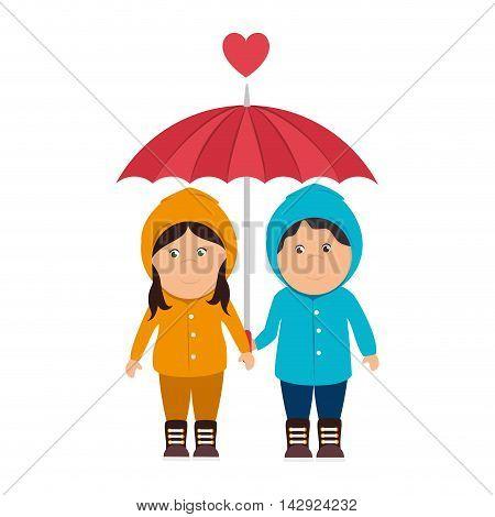 girl sweater boy love heart romance raincoat cartoon female smile happy yellow rainy cloudy vector illustration isolated