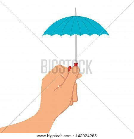 umbrella rain hand weather water parasol safety season holding vector illustration isolated