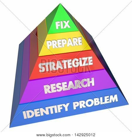 Fix Solve Problem Repair Issue Steps Pyramid 3d Illustration