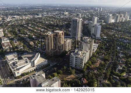 Los Angeles, California, USA - August 6, 2016:  Aerial view of high rise towers along the Wilshire corridor in West Los Angeles.