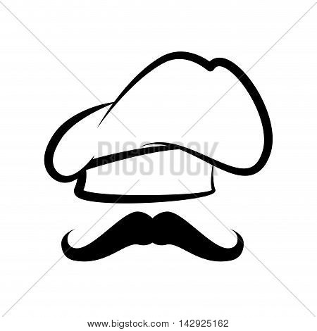 cap chef hat cooker mustache face job profession vector illustration isolated