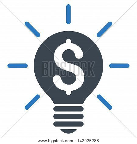 Business Idea Bulb icon. Vector style is bicolor flat iconic symbol with rounded angles, smooth blue colors, white background.