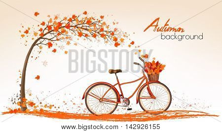 Autumn tree background with bicycle. Vector.
