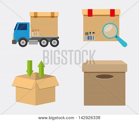 Box package truck lupe delivery shipping icon. Colorfull and flat illustration. Vector graphic