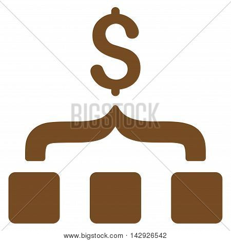 Collect Money icon. Vector style is flat iconic symbol with rounded angles, brown color, white background.