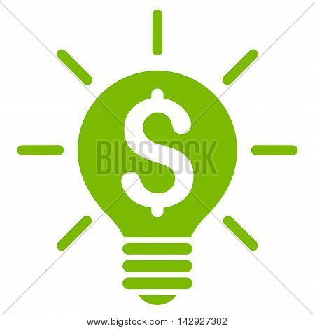 Business Idea Bulb icon. Vector style is flat iconic symbol with rounded angles, eco green color, white background.