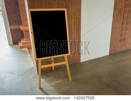 Empty black board  at  restaurant