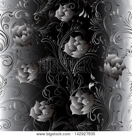 Elegant modern floral vector seamless pattern background  with volumetric ornamental decorative  roses flowers and gold silver  black ornaments and leaves. Luxury elegance texture, Ornate rich 3d decor with shadow and highlights.