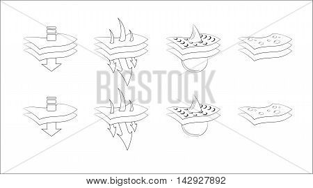 Sign of two or three waterproof breathing and water or humidity pass layers. Isolated symbols. Illustration. Vector illustration