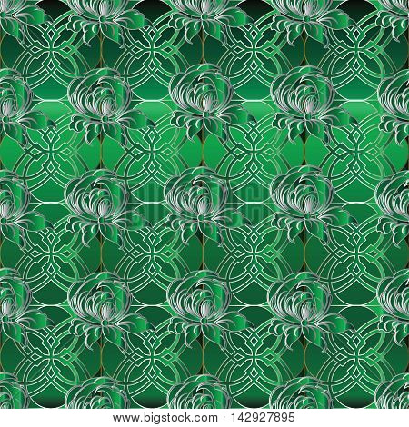 Green emerald elegant luxury floral damask seamless pattern background with oriental volumetric ornamental decorative 3d flowers and vintage gold ornaments in Victorian style. Modern texture, Ornate 3d decor with shadow and highlights.