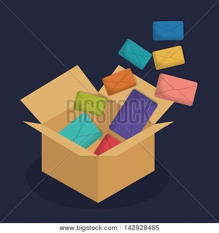 envelope box email marketing send icon. Colorful and flat design. Vector illustration
