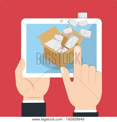envelope tablet box email marketing send icon. Colorful and flat design. Vector illustration