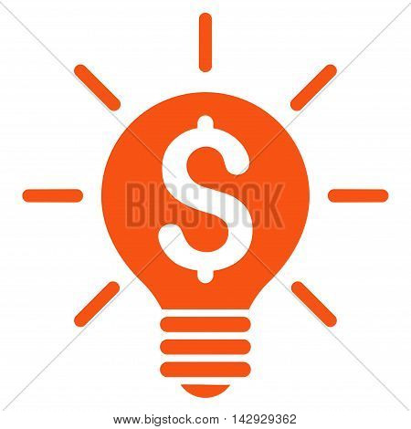 Business Idea Bulb icon. Vector style is flat iconic symbol with rounded angles, orange color, white background.