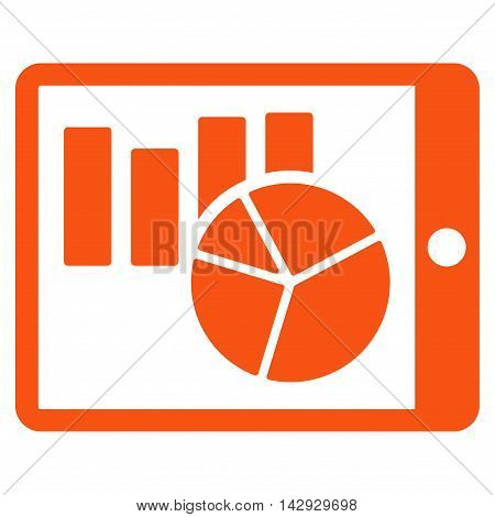 Charts on Pda icon. Vector style is flat iconic symbol with rounded angles, orange color, white background.