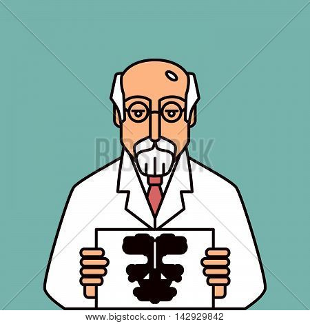 Psychologist in glasses holding Rorschach Test.  Vector isolated portrait.