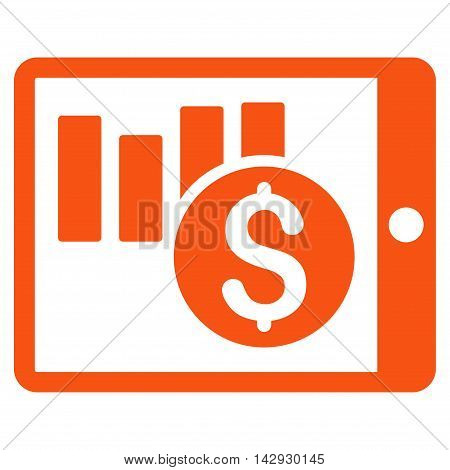 Sales Chart on Pda icon. Vector style is flat iconic symbol with rounded angles, orange color, white background.