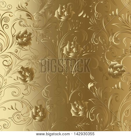 Gold roses luxury royal floral vector seamless pattern background, Vintage ornamental decorative ornaments with blooming gold roses flowers. Luxury 3d decor elements with shadow and highlights. Endless texture
