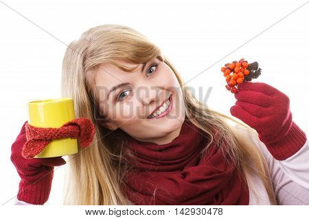 Smiling Girl Holding Cup Of Tea Wrapped Scarf And Autumnal Decoration