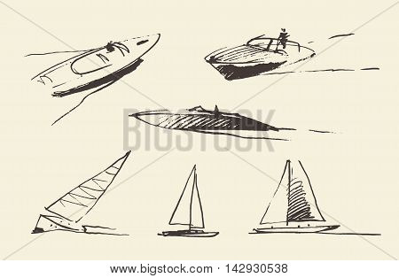 Set of boats sketches, hand drawn vector illustration