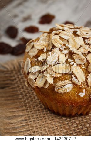 Fresh Muffin With Oatmeal Baked With Wholemeal Flour And Raisins, Delicious Healthy Dessert
