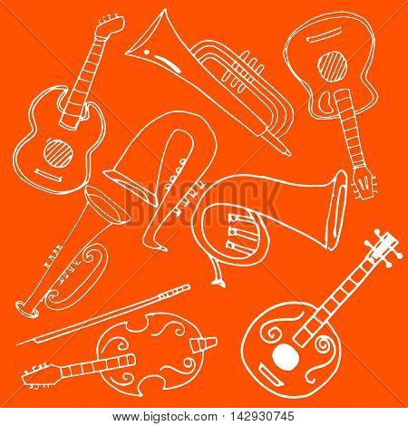 On orange backgrounds music set doodles vector illustration
