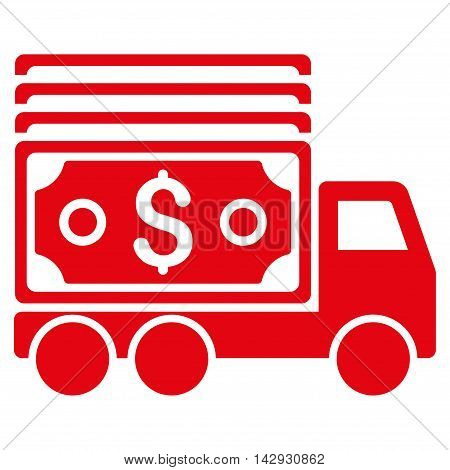 Cash Lorry icon. Vector style is flat iconic symbol with rounded angles, red color, white background.