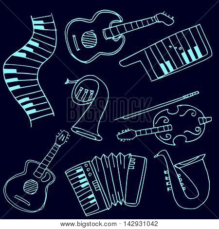 Stock collection music set doodles vector art