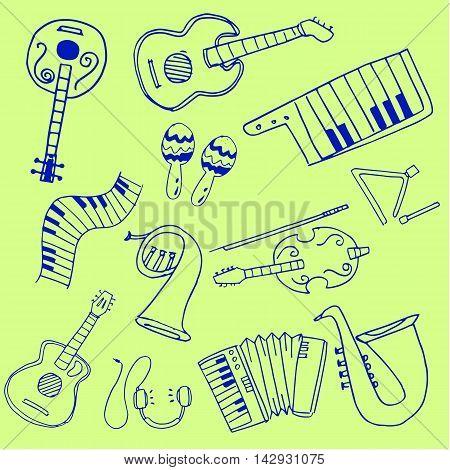 Object music set doodles vector art illustration