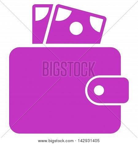 Wallet icon. Vector style is flat iconic symbol with rounded angles, violet color, white background.