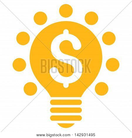 Business Patent Bulb icon. Vector style is flat iconic symbol with rounded angles, yellow color, white background.