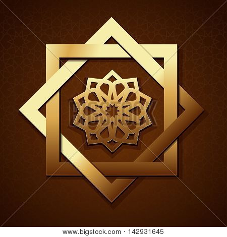 Geometric radiant arabic pattern. Golden geometric shape on a brown background with Islamic pattern. Arabic design. Vector illustration
