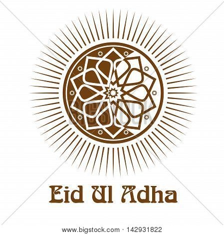 Eid al-Adha - Festival of the Sacrifice. Icon and lettering - Eid-Ul-Adha. Vector illustration isolated on white background