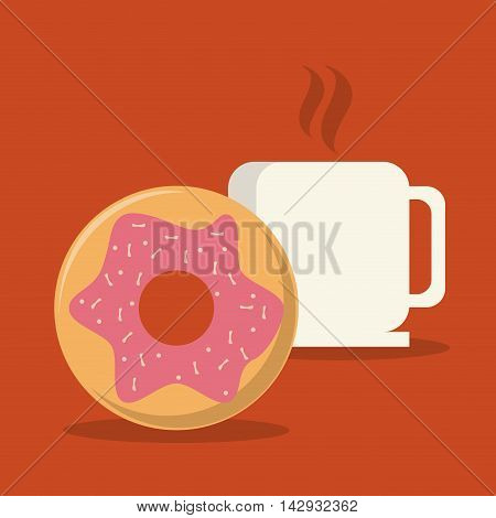 donut coffee mug food bakery shop traditional icon. Colorful design. Vector illustration