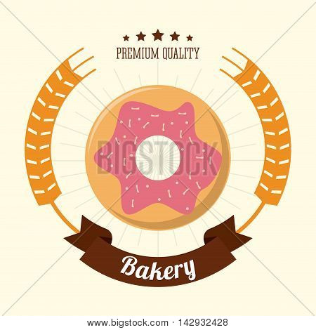 donut food bakery shop traditional icon. Colorful design. Vector illustration