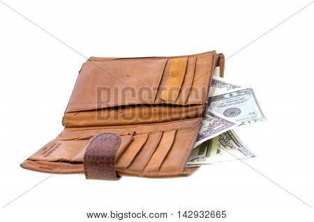 natural leather wallet isolated on white background. Expensive man's purse closeup. Wallet filled up with money