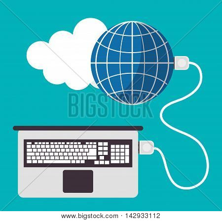 Spreadsheet laptop cloud global icon. Colorful design. Vector illustration