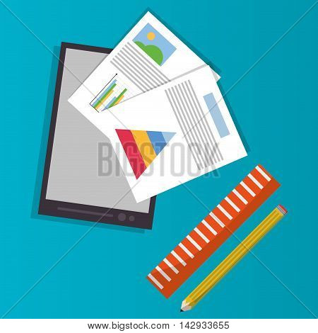 Spreadsheet smartphone ruler pencil document infographic icon. Colorful design. Vector illustration