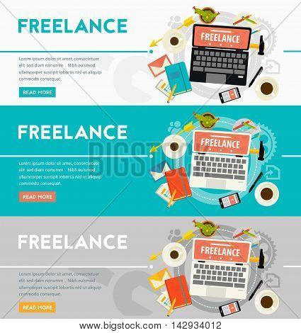 Vector freelance concept banner. Flat style vector illustration online web banner