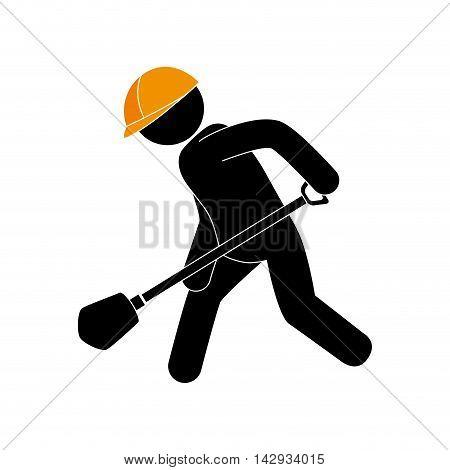 builder construction under working shovel foreman helmet work vector illustration isolated