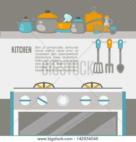 Kitchen Interior, pans on the stove, cooking. Vector illustration. Flat style.