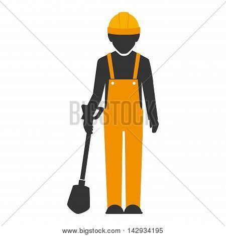 builder construction worker helmet shovel  man vector isolated  illustration
