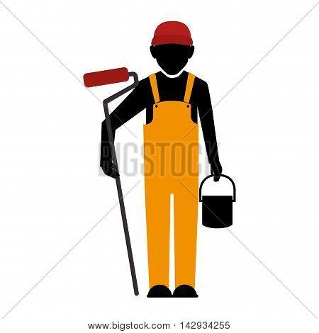 builder construction worker helmet man paint bucket vector illustration isolated