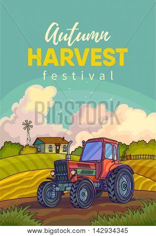 Farm rural landscape with field and tractor. Illustration harvesting crops. Vector background with harvest.