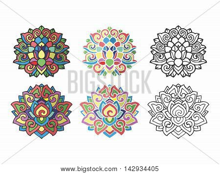 Vector Abstract Colorful Vintage Nostalgia Religious Ornament Decor Illustration