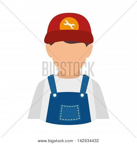 mechanic man repairman auto fix tool overall male vector illustration isolated