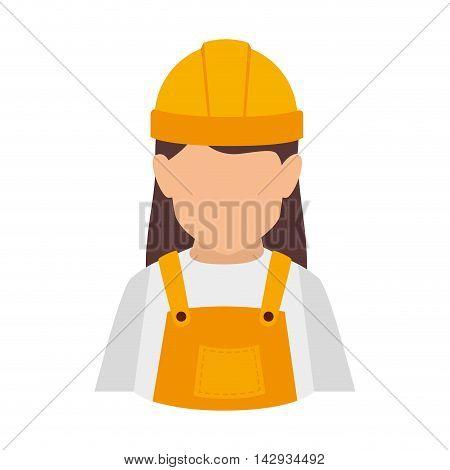 builder construction worker helmet women vector isolated illustration