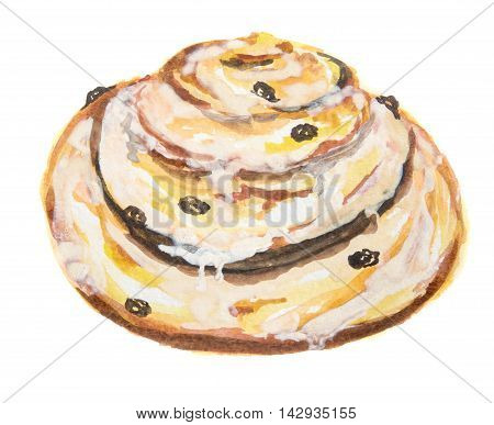 Watercolor cinnamon bun. Pastry art for decoration, cafe or restaurant menu. Isolated roll on white background.