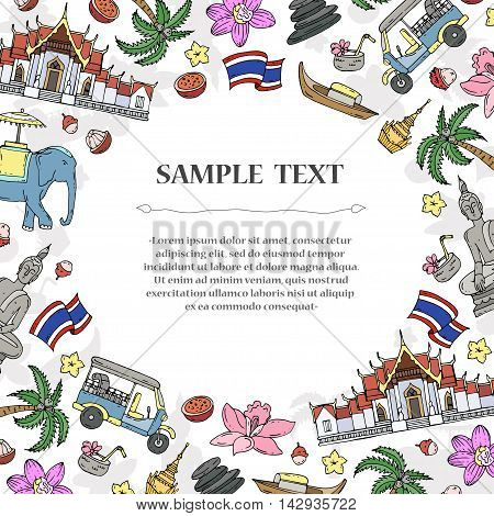 Cute decorative cover with hand drawn colored symbols of Thailand. Illustration on the theme of travel and tourism. Vector background for use in design