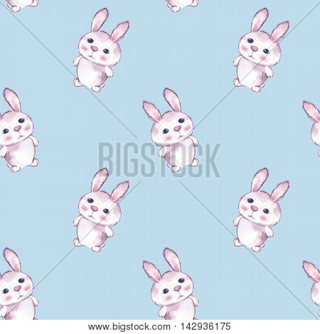 Background with rabbits 3. Seamless pattern with cartoon animals. Watercolor painting